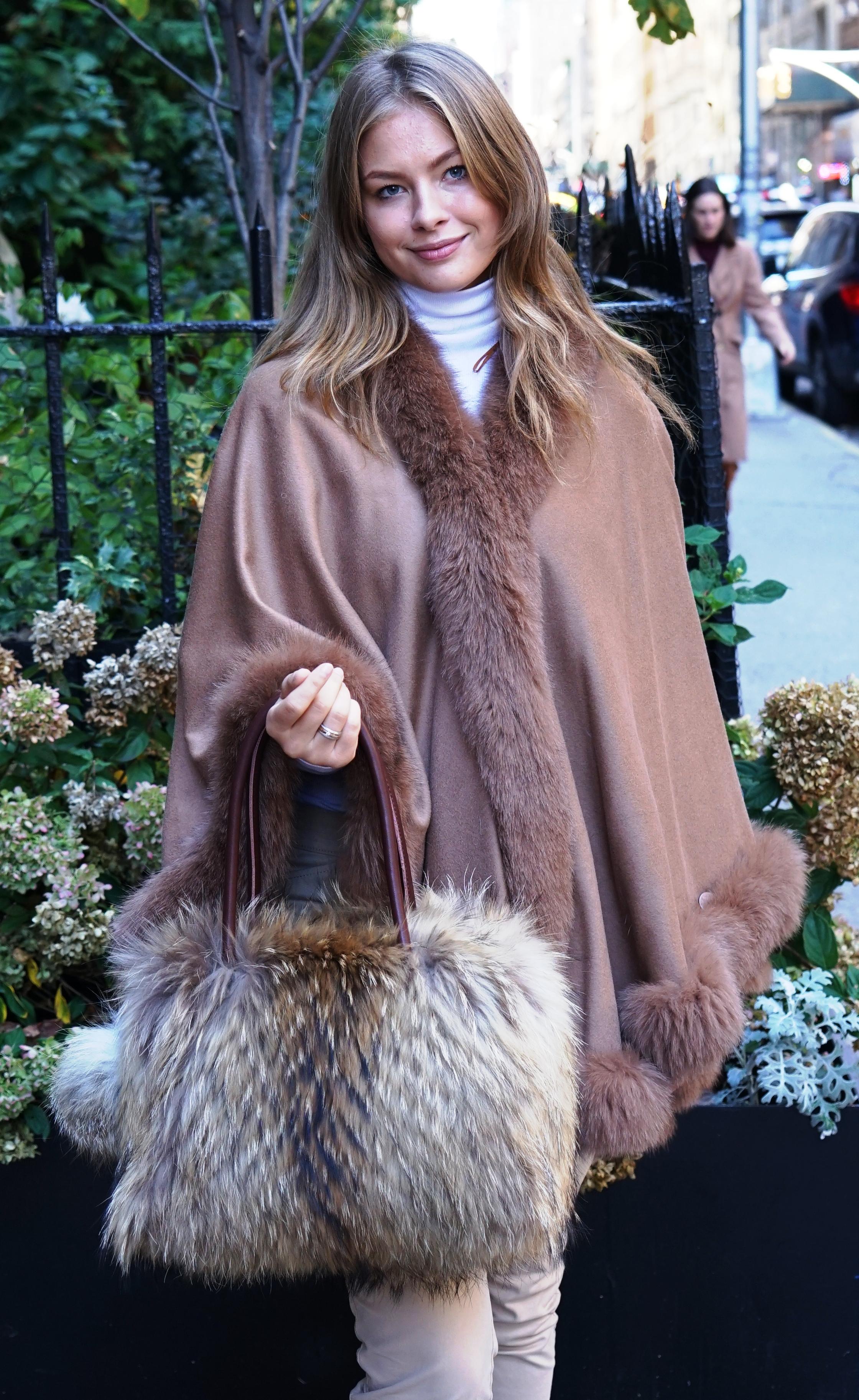 Finnish Raccoon Fur Pocketbook Camel Cashmere Cape Fox Trim