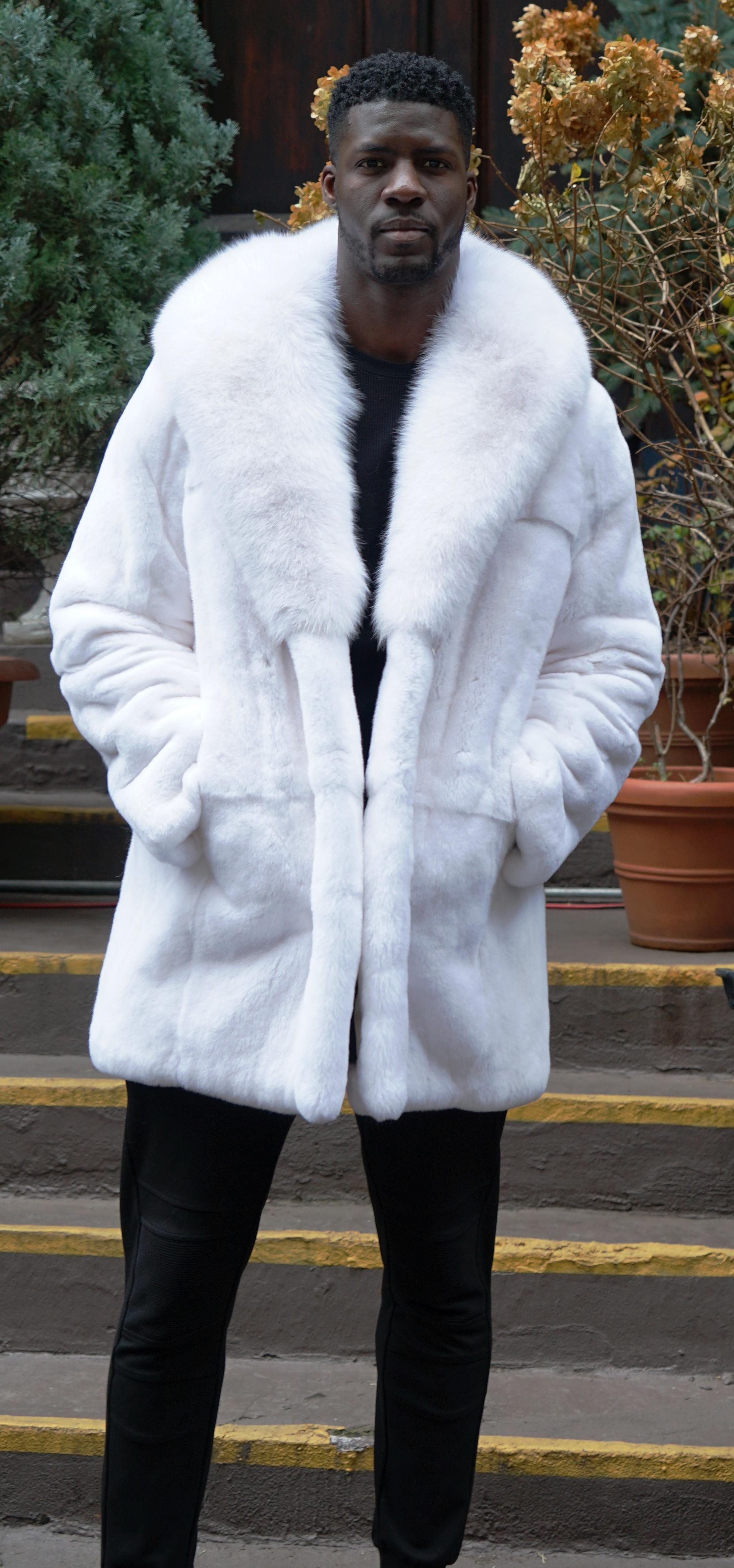 Men's White Rex Rabbit Stroller White Fox Collar