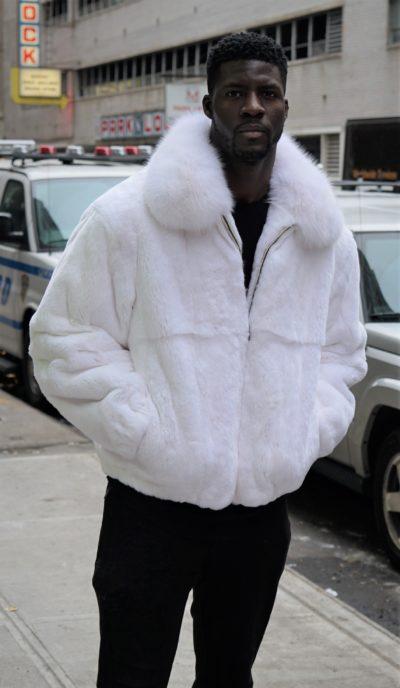 Men's White Rex Fur Bomber Jacket