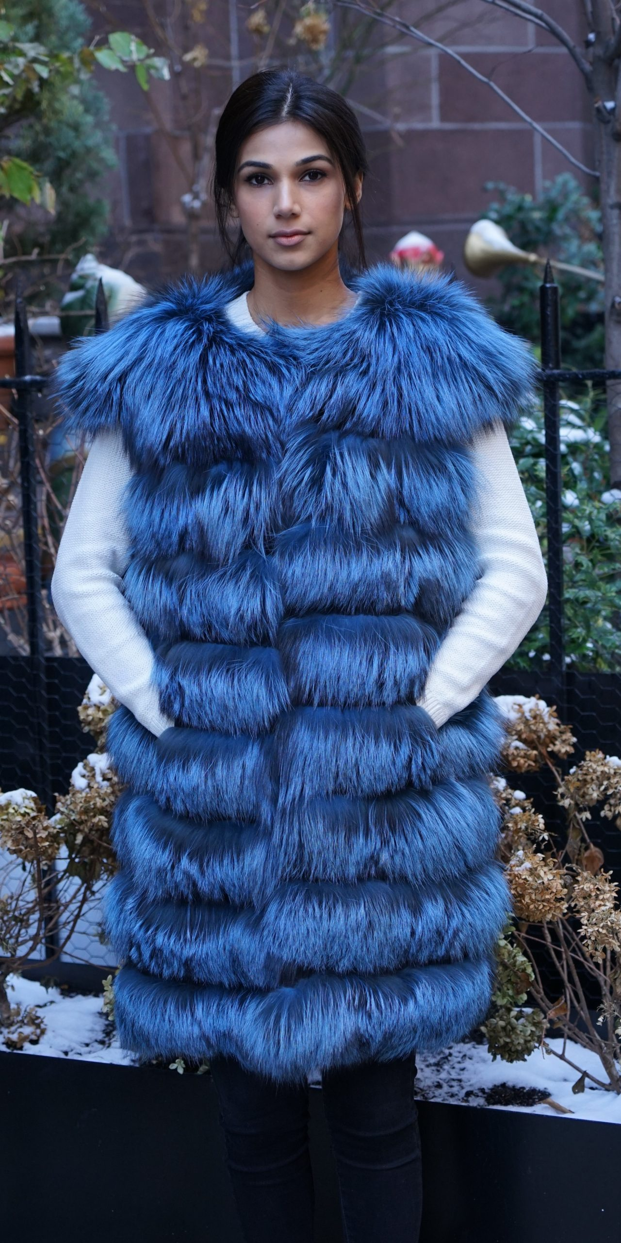 Blue Dyed Silver Fox Horizontal Vest