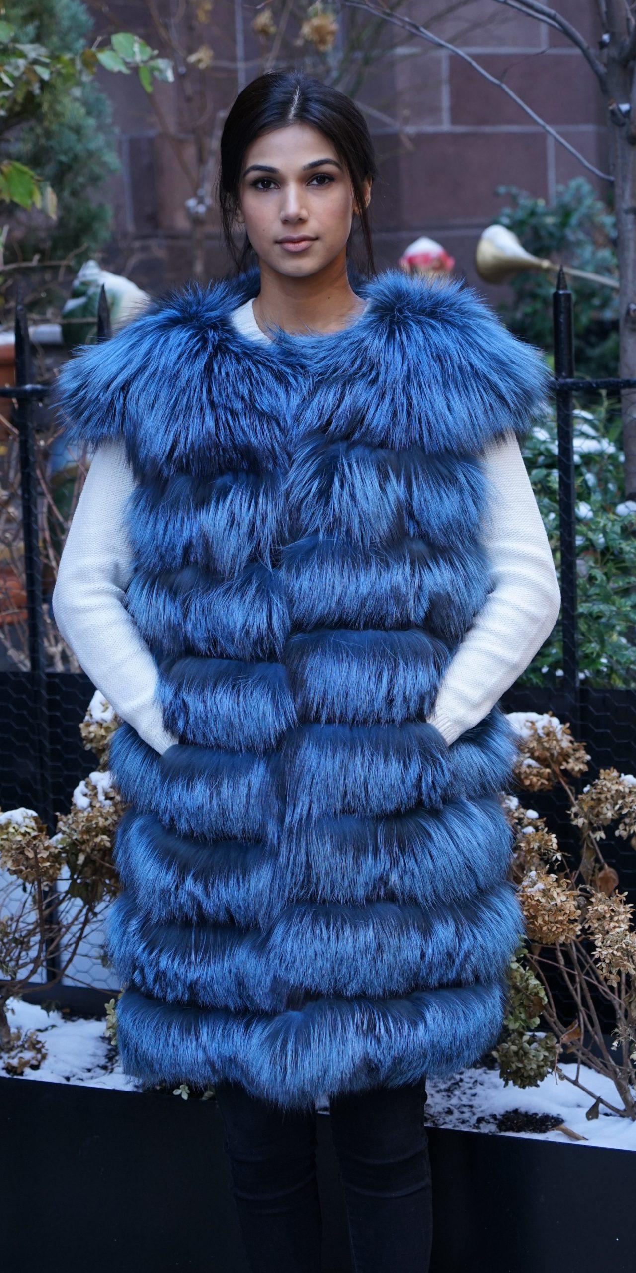 Blue Dyed Silver Fox Horizontal Vest