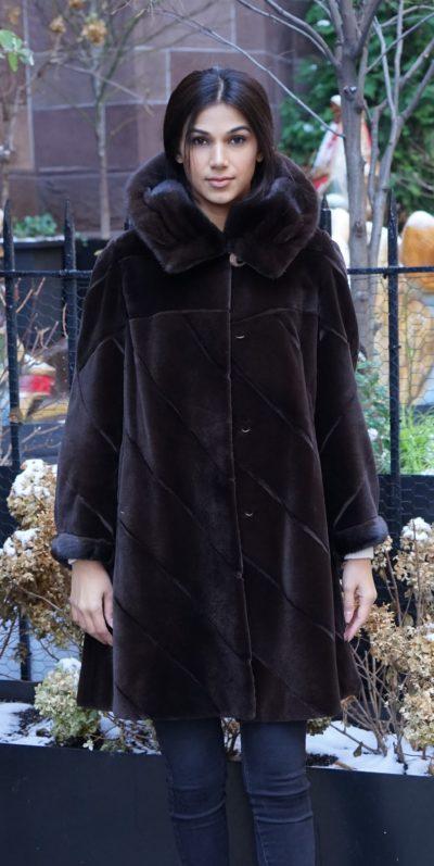Brown Sheared Mink Stroller Hood