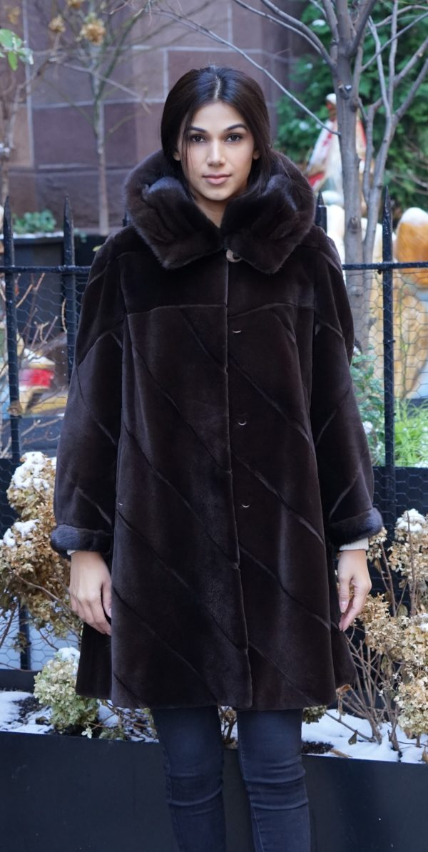 Brown Sheared Mink Stroller Hood