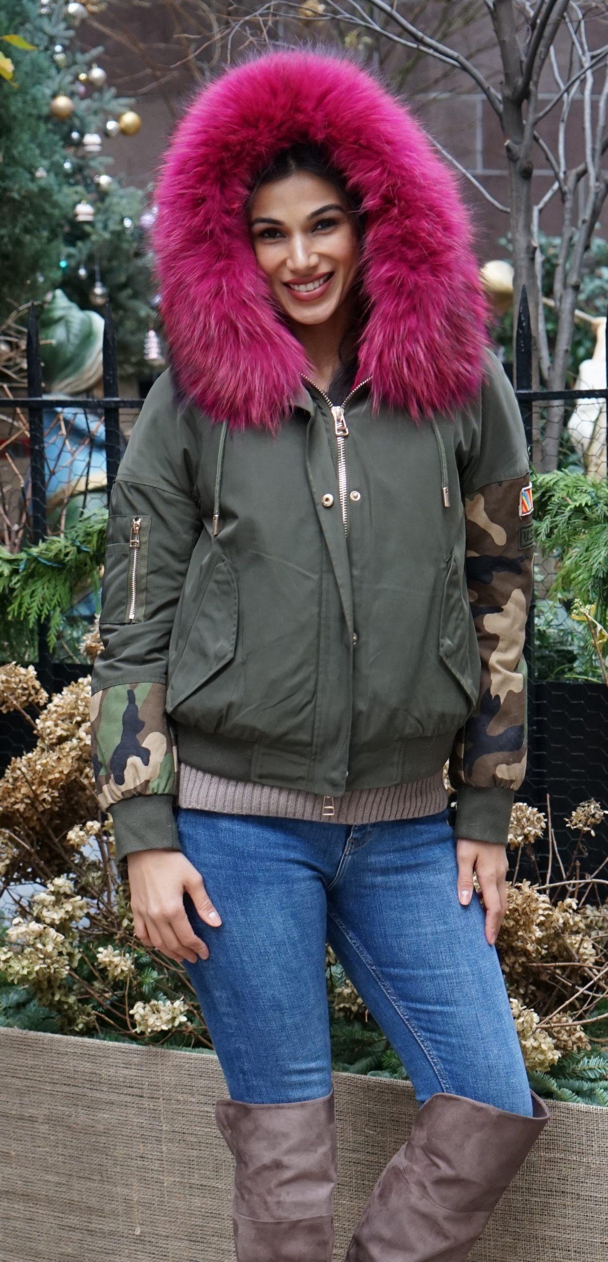 Camouflage Jacket Fur Lined Fuchsia Fox Trim