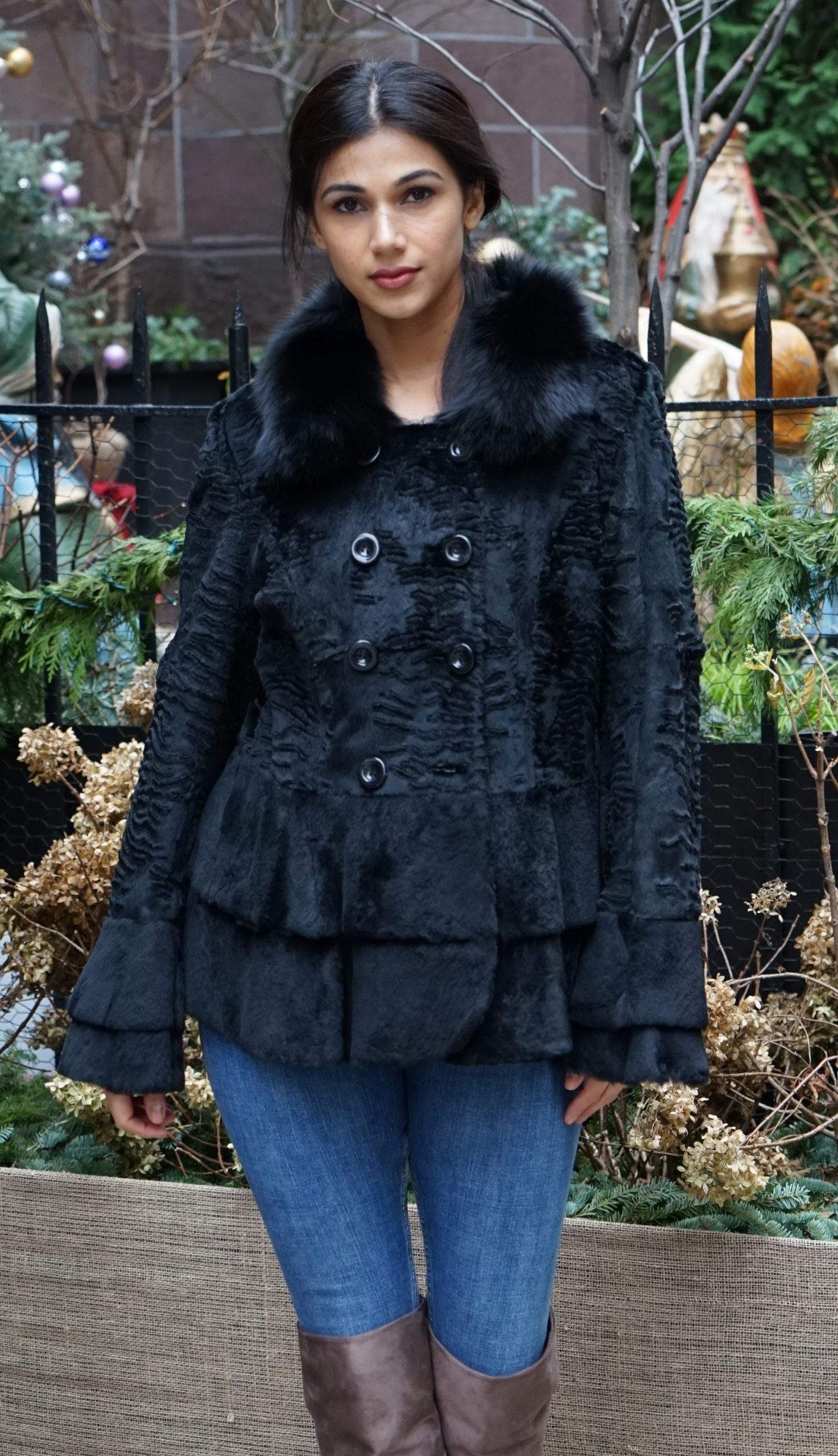 Black Sheared Rabbit Stroller