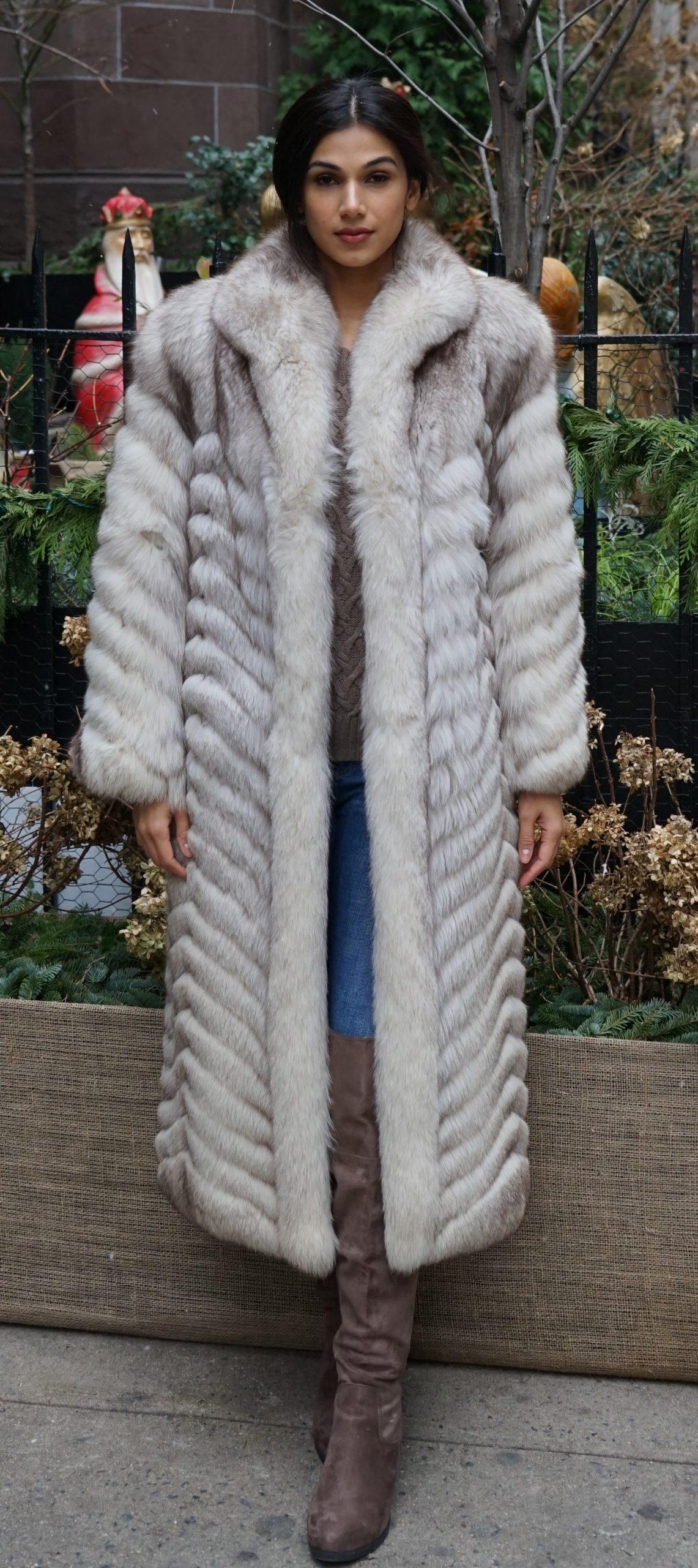 Blue Fox Coat Full length