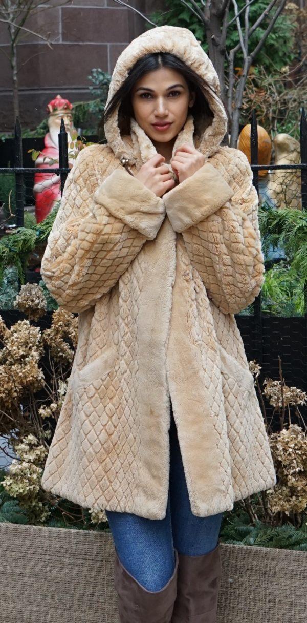 Camel Sheared Beaver Jacket Hooded