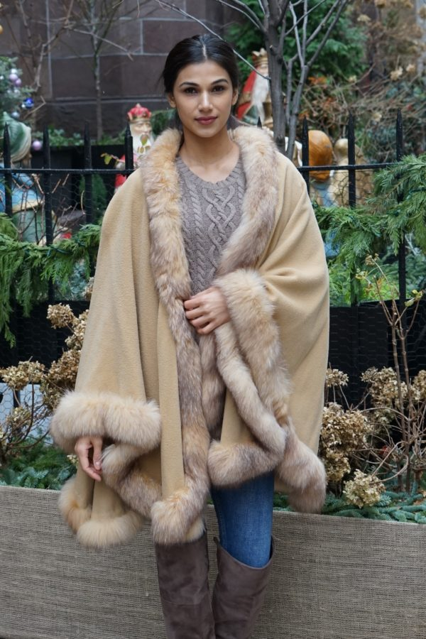 Camel Cashmere Cape Fox Trim