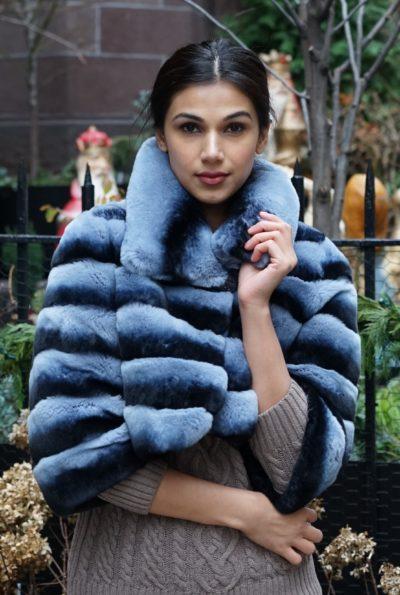 Sexy Blue Rex Rabbit Fur Jacket