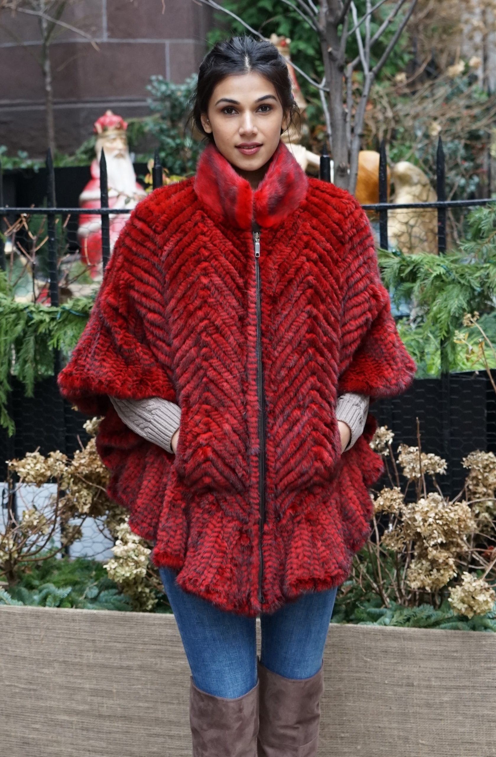 Red Knit Mink Poncho Luxury Gift