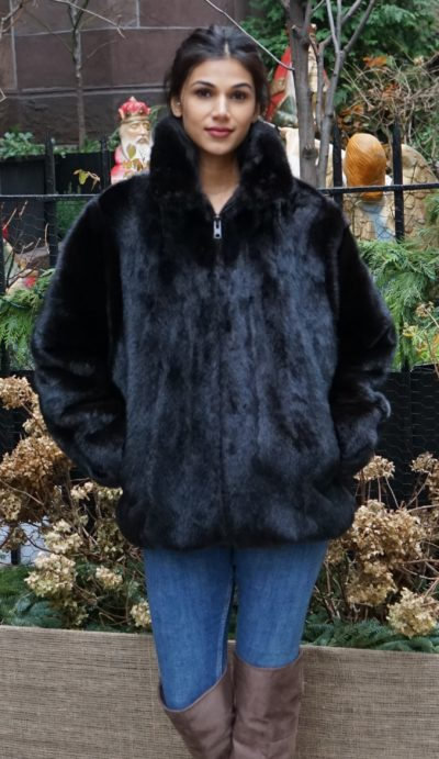 Black Mink Bomber Jacket