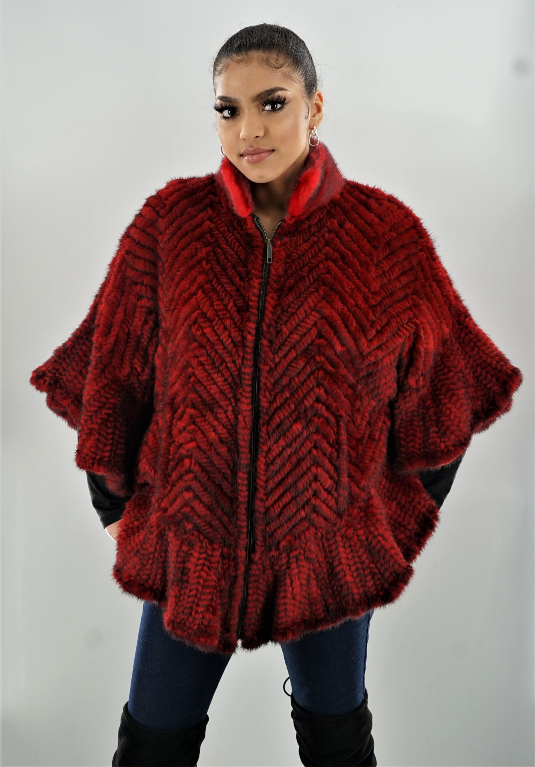 Red Knit Mink Poncho