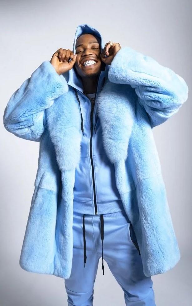 Flip Dinero Blue Fur Coat