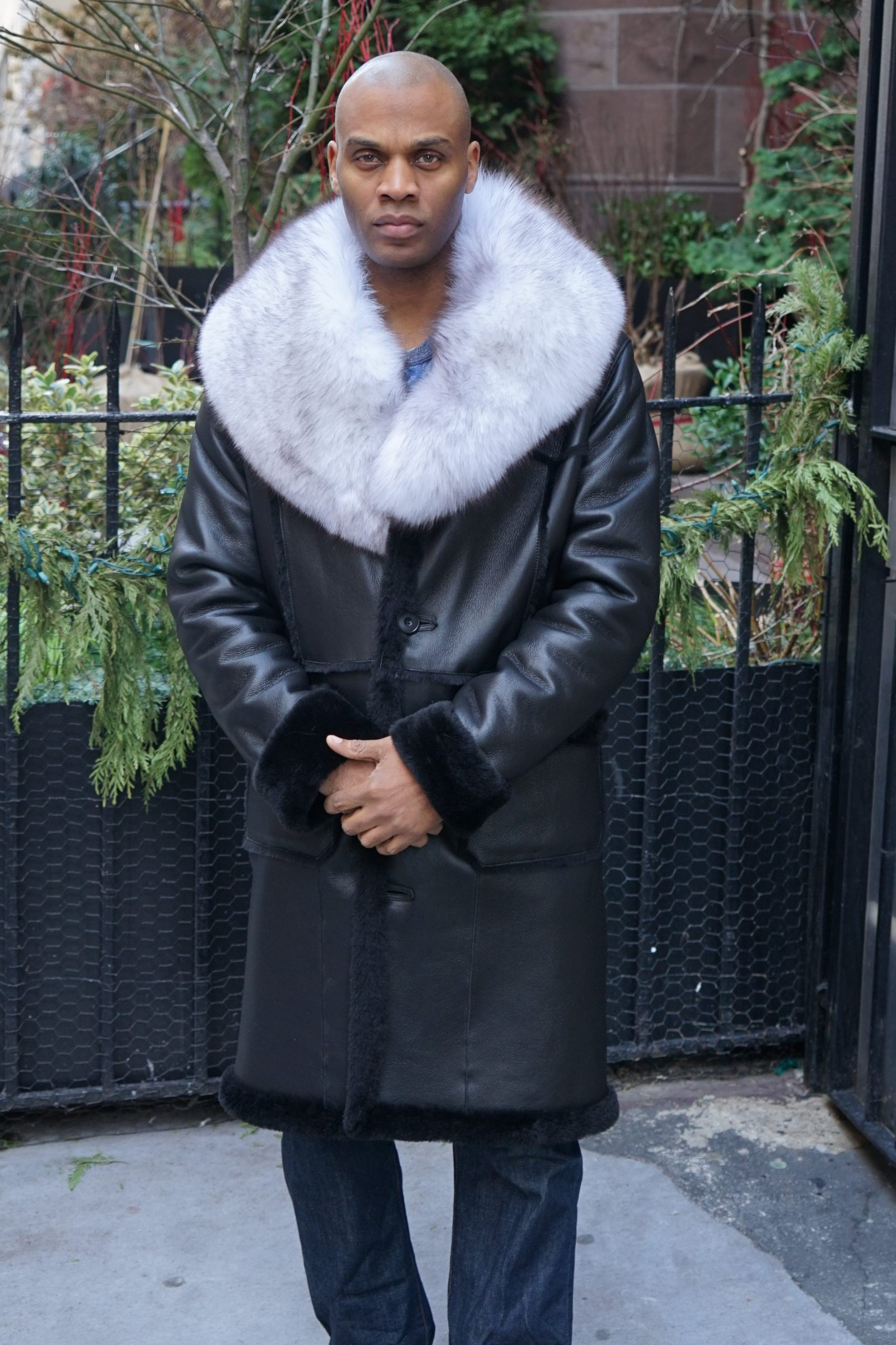 Men's Black Shearling Coat Blue Fox Collar