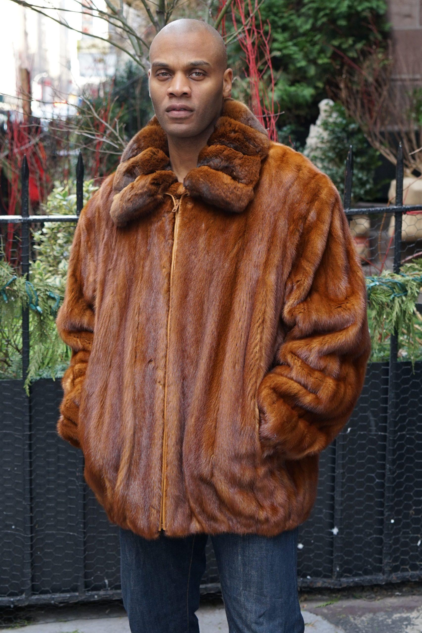 Men's Conjac Mink Jacket Chinchilla Collar