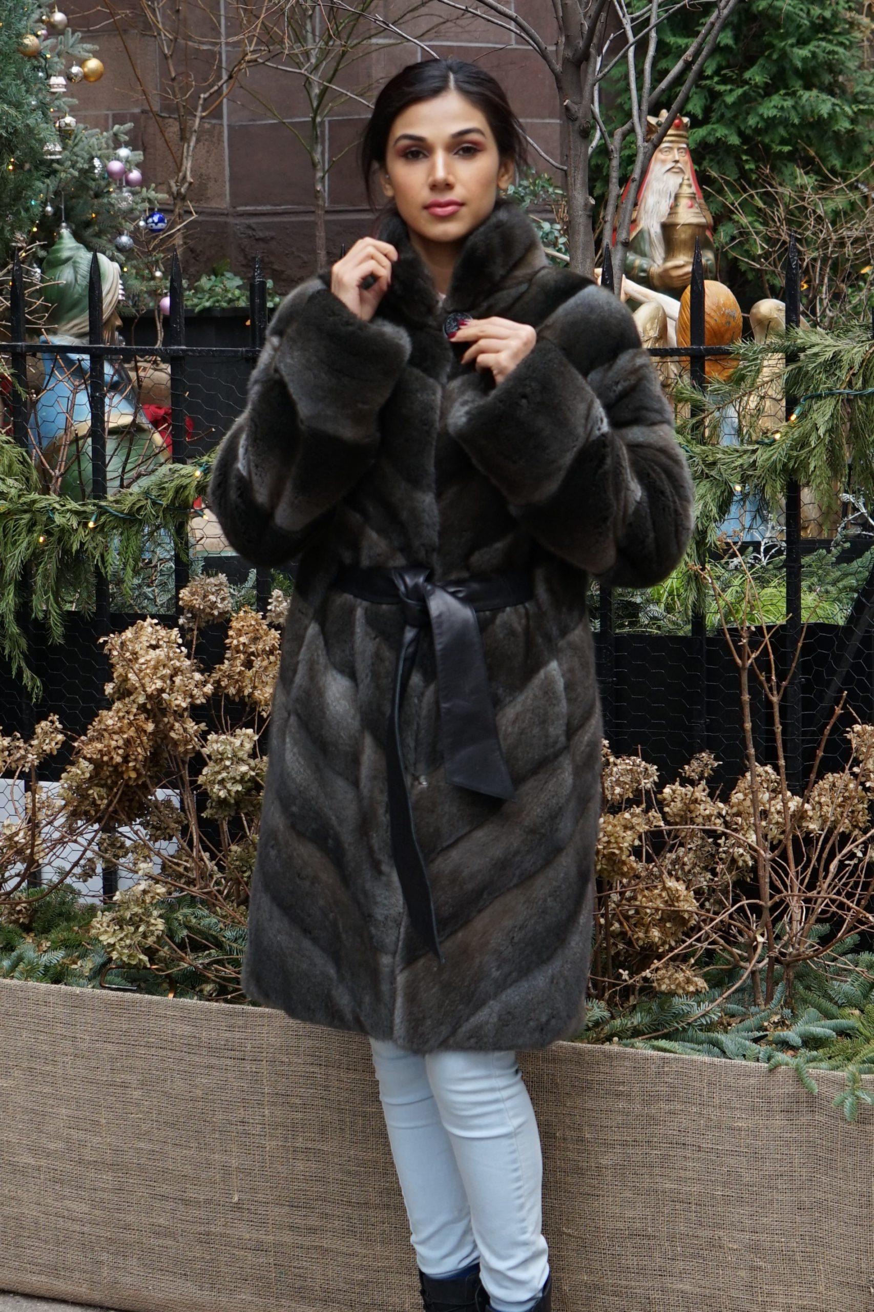 Dark Green Horizontal Mink Coat
