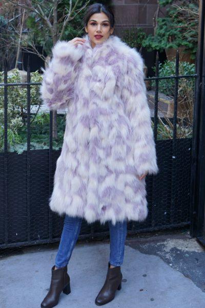 Lavender Ivory Fox Coat