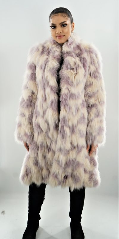 Lavender Ivory Fox Coat