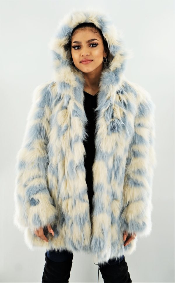 Blue Ivory Fox Stroller Hood