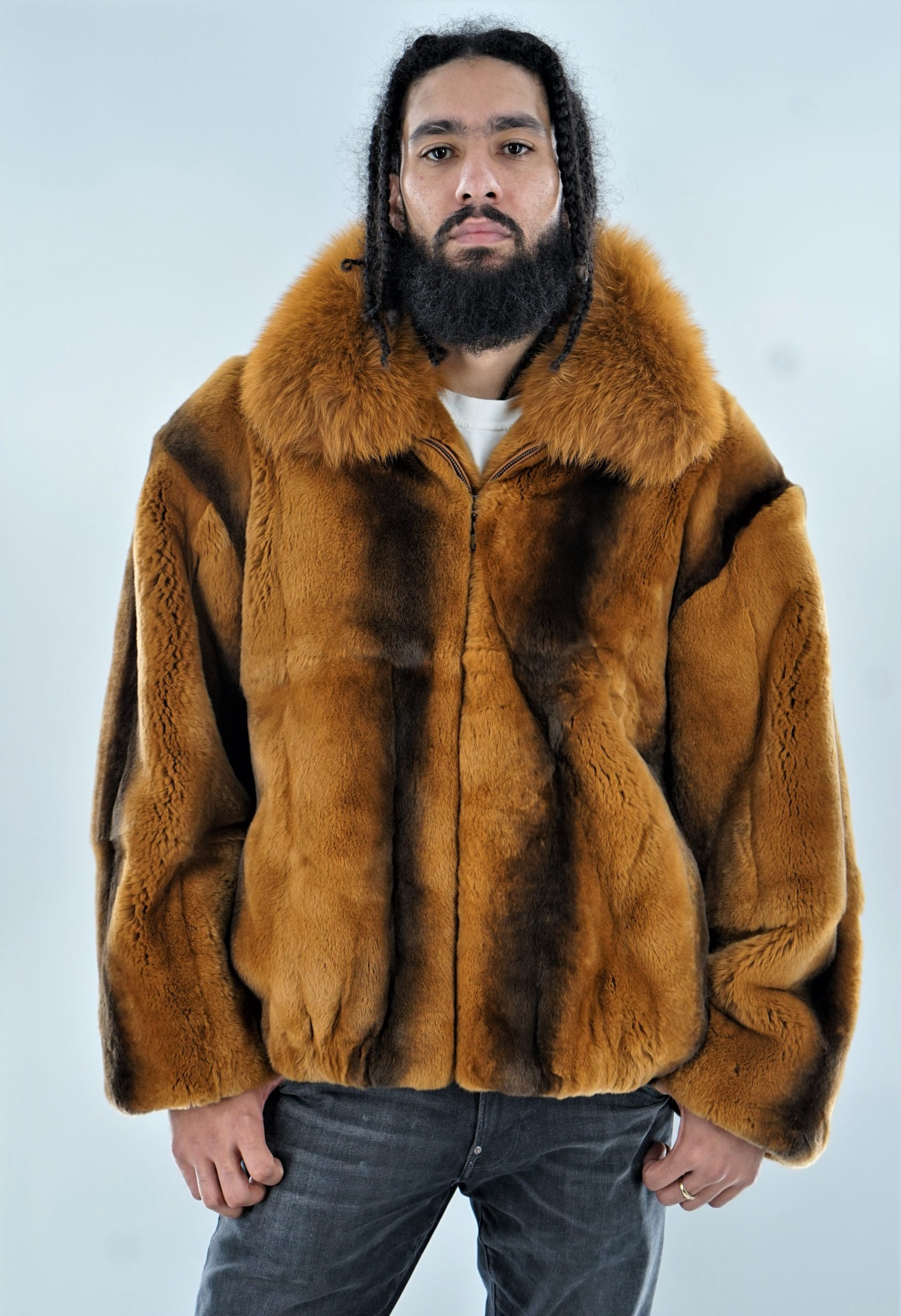 Whiskey Rex Bomber Jacket Fox Collar