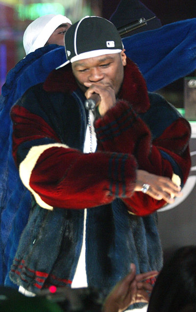 50 Cent Burgundy Blue Mink Bomber Fur Jacket