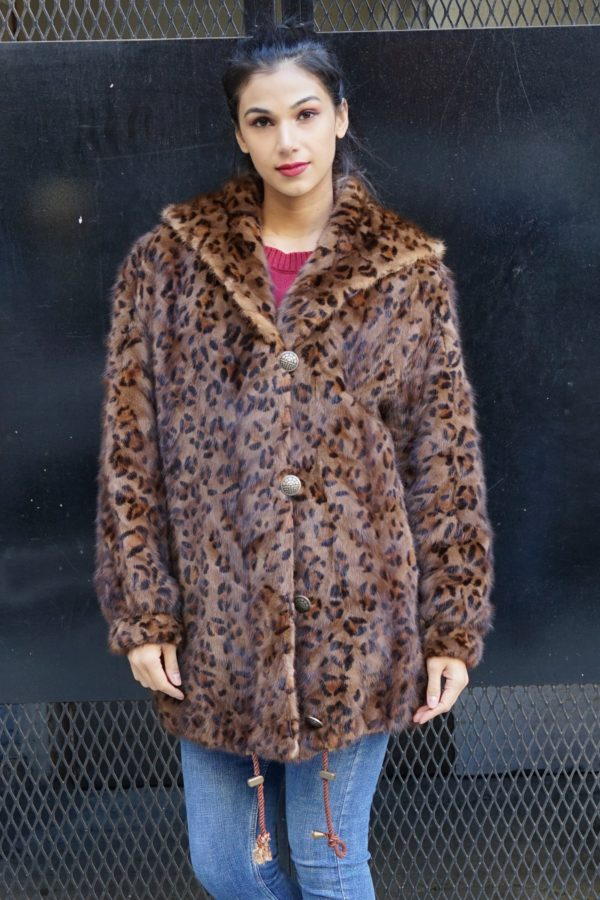 Leopard Mink Jacket Hooded Reversible