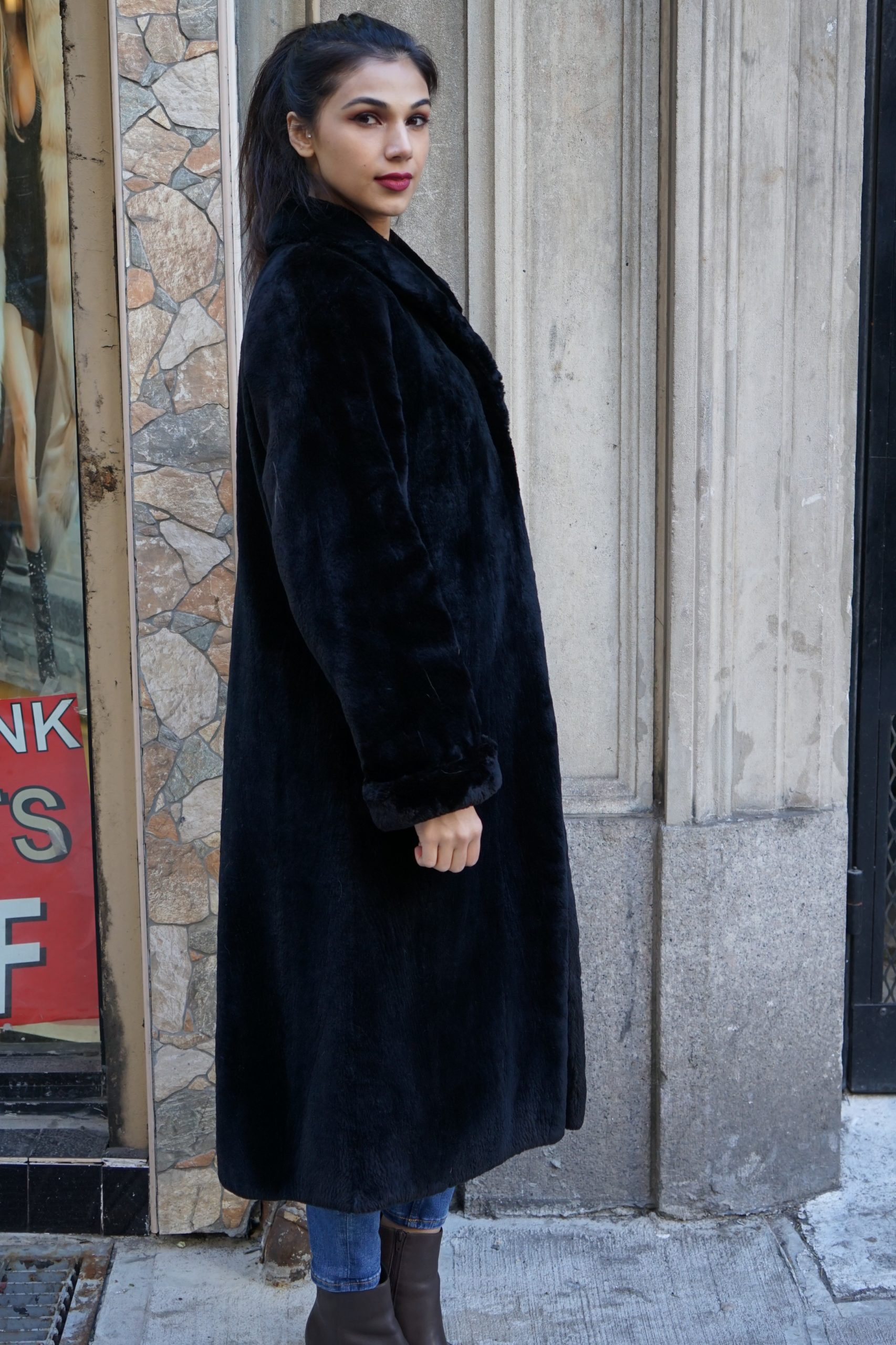 Black Sheared Beaver Coat