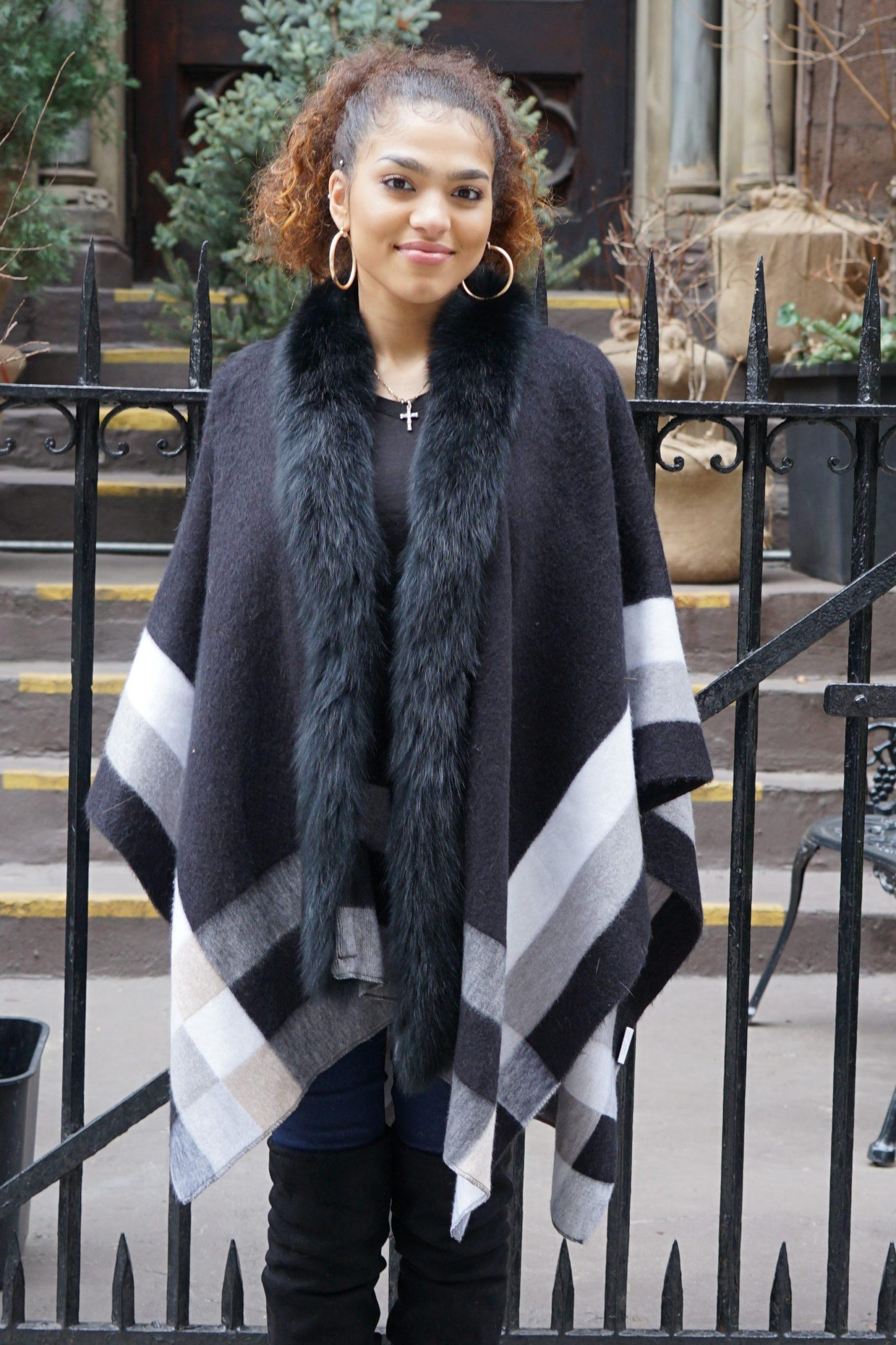 Gray Black White Cashmere Wool Fox Trim