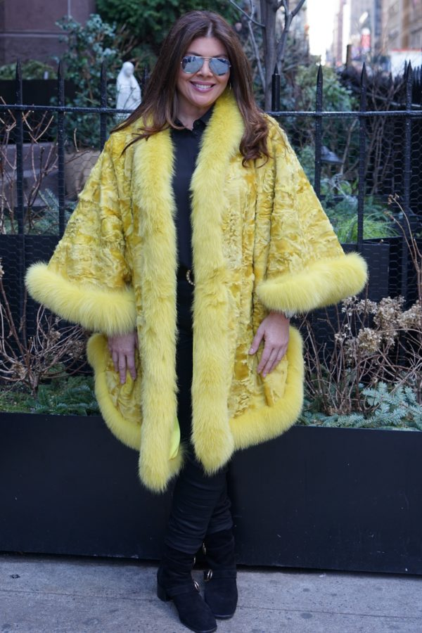 Plus Size Yellow Persian Cape Matching Fox Collar