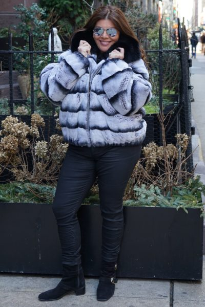 Plus Size Rex Rabbit Bomber Fur Jacket Black Fox Collar