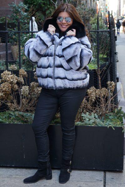 Plus Size Rex Rabbit Bomber Fur Jacket Black Fox Collar