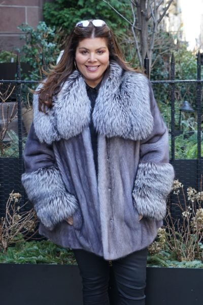 Plus Size Blue Iris Mink Fur Jacket