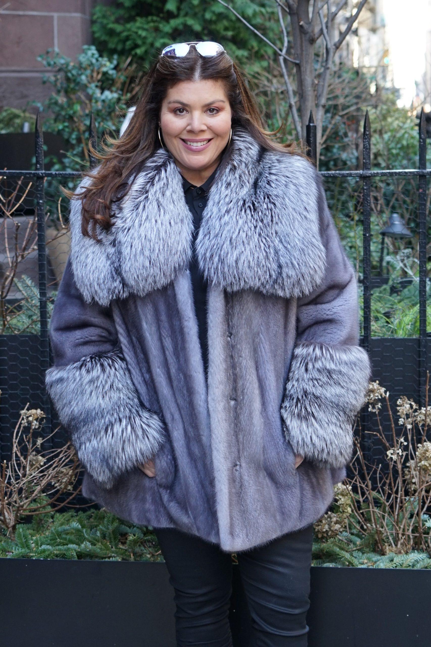 Plus Size Blue Iris Mink Fur Jacket