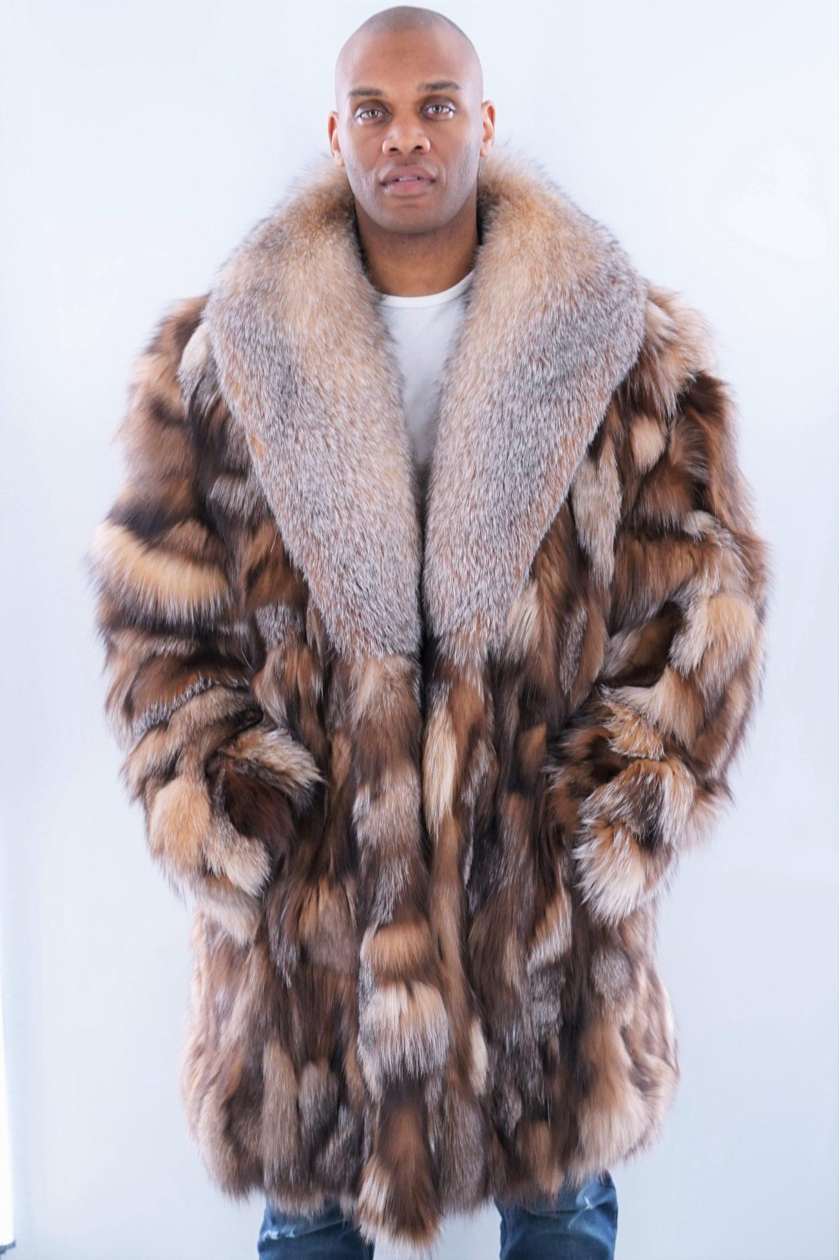 Men's Diamond Crystal Fox Stroller Full Skin Fox Collar