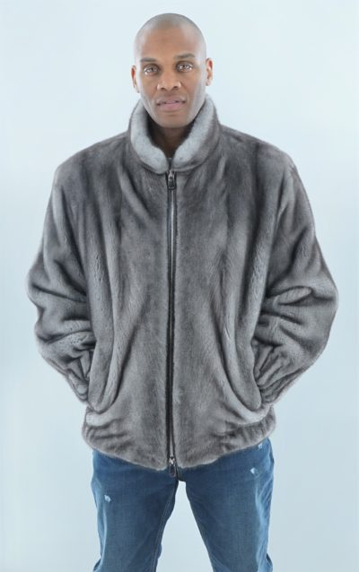 Blue Iris Mink Bomber Jacket Stand Up Collar