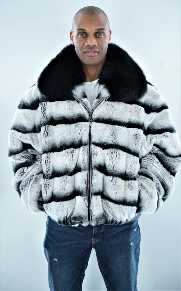 Men's Rex Rabbit Bomber Jacket Chinchilla Black Fox Collar