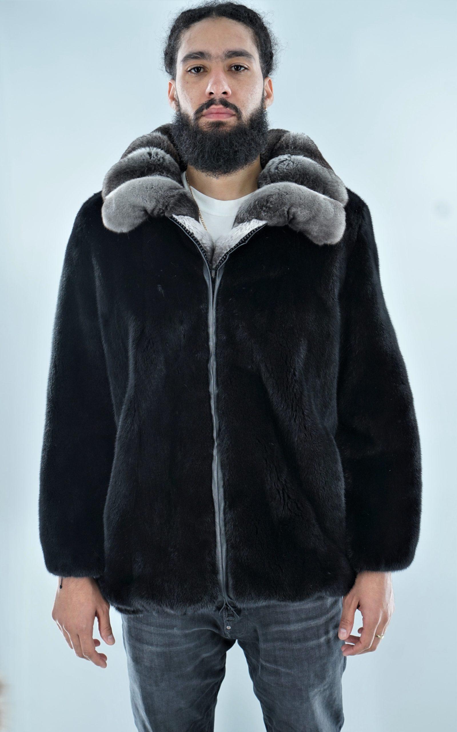 Men's Blackglama Mink Bomber Jacket Chinchilla Collar