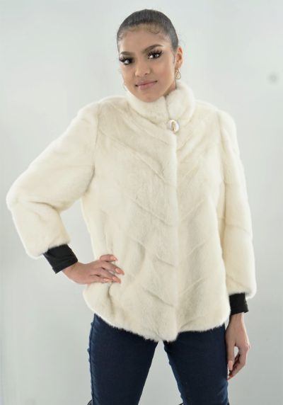 White Mink Jacket Diagonal Body