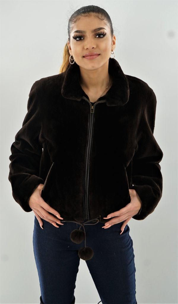 Brown Sheared Beaver Bomber Jacket