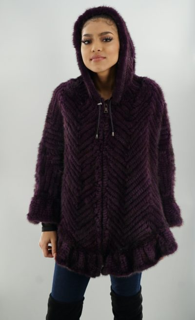 Purple Knit Mink Cape Hood