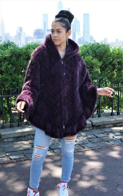 Purple Knit Mink Cape Hood