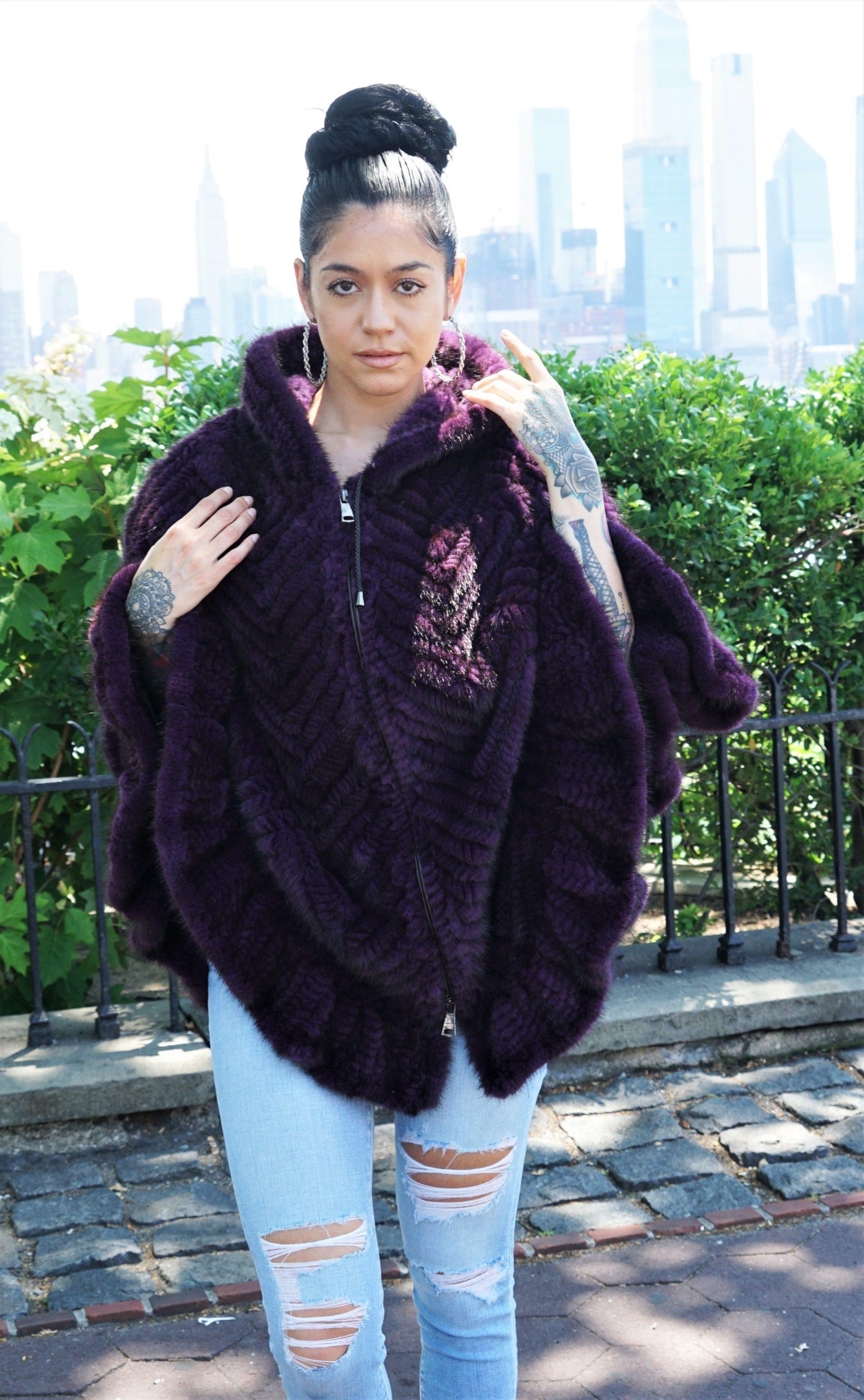 Purple Knit Mink Cape