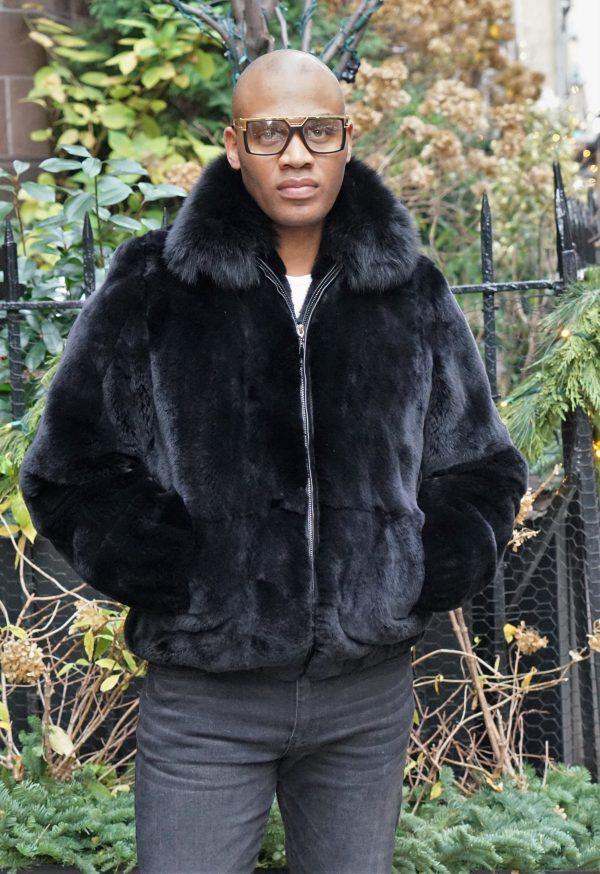 Men's Black Rex Rabbit Bomber Jacket Fox Collar