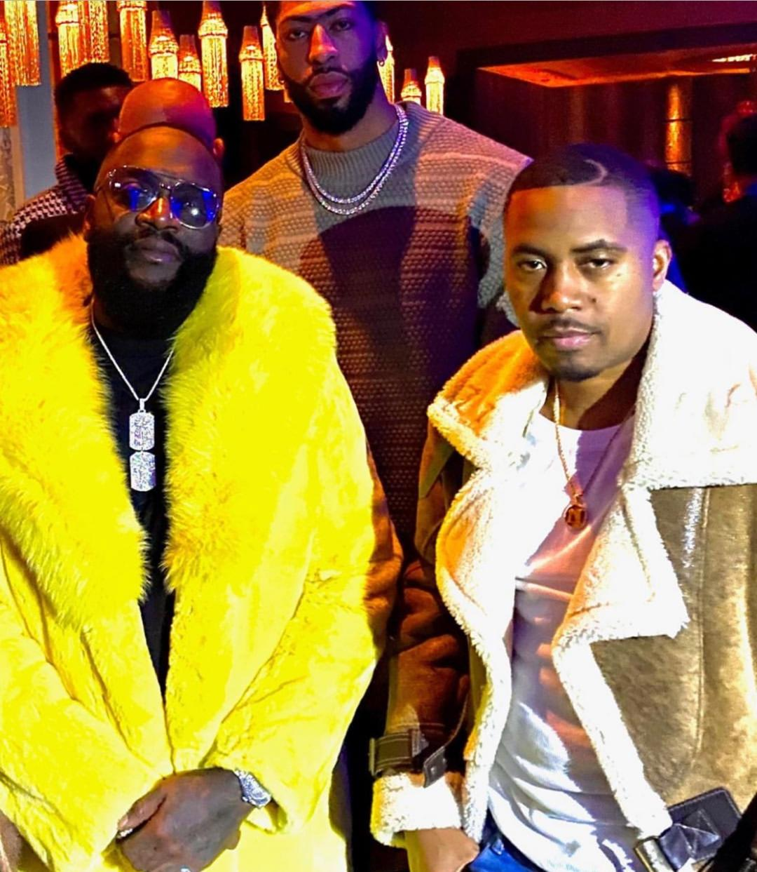 Rick Ross Yellow Rex Rabbit Fur Coat Fox Collar