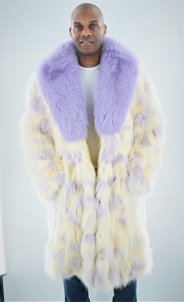 Men's Lavender and Yellow Fox Fur Coat
