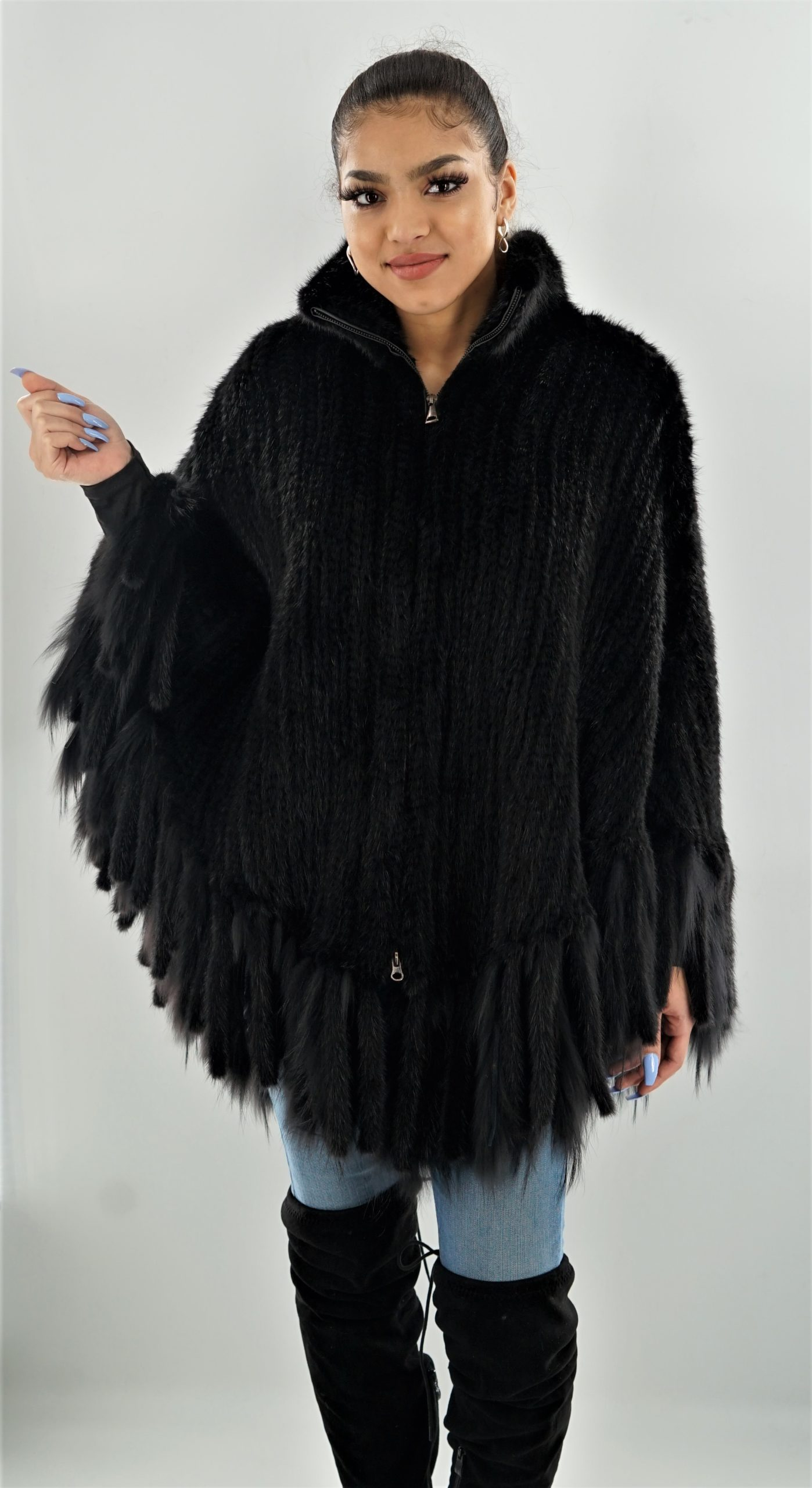 Black Knit Mink Poncho with Fringes