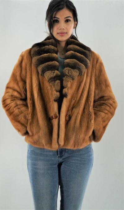 Whiskey Bomber Jacket Chinchilla Collar