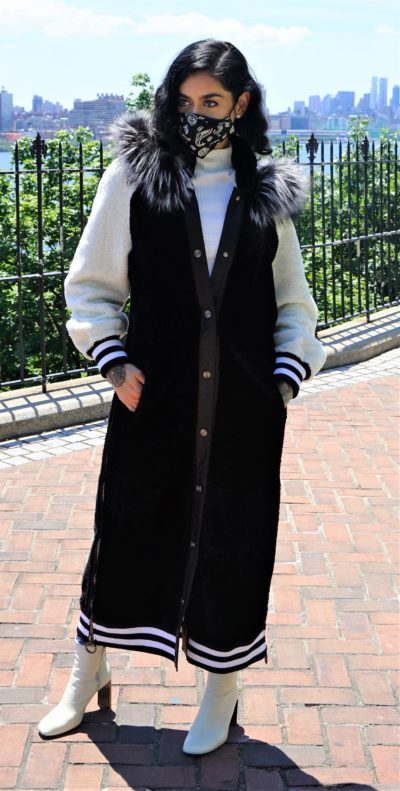 Black White Shearling Varsity Coat Silver Fox Trim