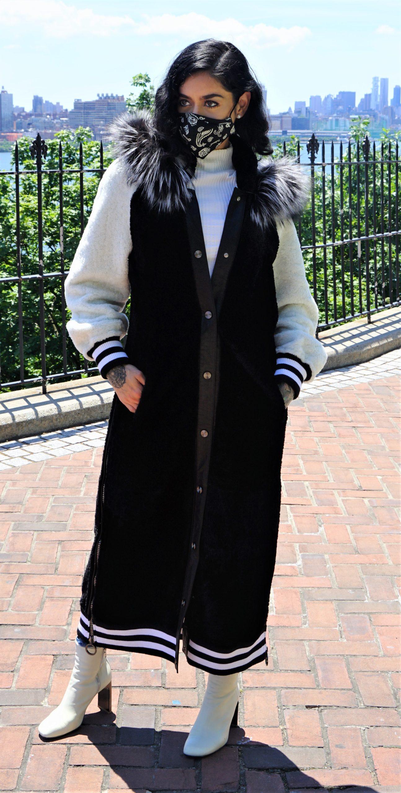 Black White Shearling Varsity Coat Silver Fox Trim