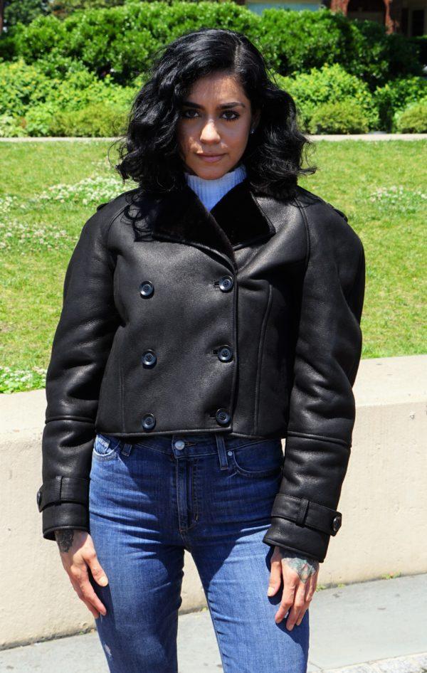 Woman's Black Shearling Motorcycle Jacket